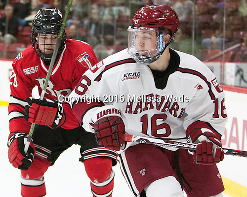 Jesper Öhrvall (RPI - 28), Ryan Donato (Harvard - 16) - The Harvard University Crimson defeated the visiting Rensselaer Polytechnic Institute Engineers 5-2 in game 1 of their ECAC quarterfinal series on Friday, March 11, 2016, at Bright-Landry Hockey Center in Boston, Massachusetts.