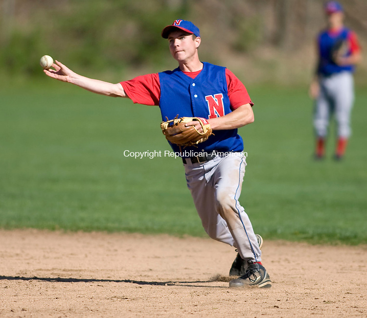WOODBURY, CT - 29 APRIL 2010 -042910JT06-<br /> Nonnewaug's Peter Blake picks up a grounder hit by by Housatonic's Will Perotti during Thursday's game at Nonnewaug.<br /> Josalee Thrift Republican-American