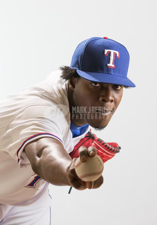 Feb. 20, 2013; Surprise, AZ, USA: Texas Rangers pitcher Roman Mendez poses for a portrait during photo day at Surprise Stadium. Mandatory Credit: Mark J. Rebilas-