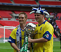 Barrow goalscorers Jason Walker and Lee McEvilly with the trophy after the FA Trophy Final between Barrow and Stevenage Borough at Wembley Stadium, London on 8th May,2010..© Kevin Coleman 2010.