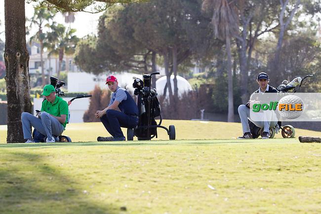 Kevin LeBlanc (IRL), Nicolas Schellong (CZE), Jordi Panes Capdevila (ESP) during the 2nd round of the European Nations Cup, Real Club de Golf Sotogrande, Paseo del Parque, 11310 Sotogrande, C&aacute;diz  30/03/2017.<br /> Picture: Golffile | Fran Caffrey<br /> <br /> <br /> All photo usage must carry mandatory copyright credit (&copy; Golffile | Fran Caffrey)