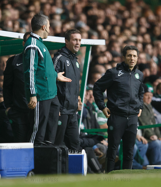 Ronny Delia and John Collins have a go at the officials