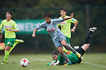 (L to R) <br /> Mina Tanaka (Beleza), <br /> Mio Nemoto (JEF Ladies), <br /> SEPTEMBER 17, 2017 - Football / Soccer : <br /> 2017 Plenus Nadeshiko League Division 1 match <br /> between JEF United Ichihara Chiba Ladies 0-1 NTV Beleza <br /> at Frontier Soccer Field in Chiba, Japan. <br /> (Photo by AFLO SPORT)