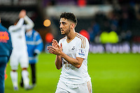Neil Taylor of Swansea City  leaves the field during the Barclays Premier League match between Swansea City and Southampton  played at the Liberty Stadium, Swansea  on February 13th 2016