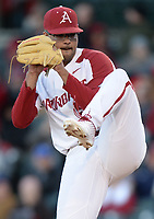 NWA Democrat-Gazette/ANDY SHUPE<br /> Arkansas starter Isaiah Campbell delivers to the plate against Missouri Friday, March 15, 2019, during the second inning at Baum-Walker Stadium in Fayetteville. Visit nwadg.com/photos to see more photographs from the game.