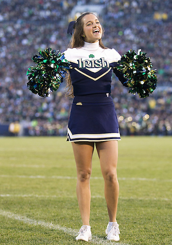 November 17, 2012:  Notre Dame cheerleader Erin Garfield performs during NCAA Football game action between the Notre Dame Fighting Irish and the Wake Forest Demon Deacons at Notre Dame Stadium in South Bend, Indiana.  Notre Dame defeated Wake Forest 38-0.