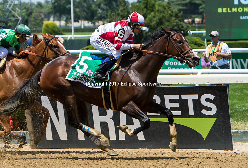 ELMONT, NY - JUNE 10: Songbird #5, ridden by Mike Smith, wins the Ogden Phipps Stakes on Belmont Stakes Day at Belmont Park on June 10, 2017 in Elmont, New York (Photo by Sue Kawczynski/Eclipse Sportswire/Getty Images)