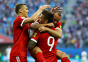 17th June 2017, St Petersburg, Russia;  FIFA 2017 Confederations Cup football, Russia versus New Zealand;  Group A - Saint Petersburg Stadium,  Russia's Fedor Smolov celebrates scoring their second goal with team mates