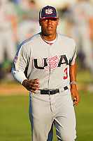 Marcus Stroman #3 (Duke) of the USA Baseball Collegiate National Team prior to the game against the Gastonia Grizzlies at Sims Legion Park on June 30, 2011 in Gastonia, North Carolina.  Team USA defeated the Grizzlies 12-5.  Brian Westerholt / Four Seam Images