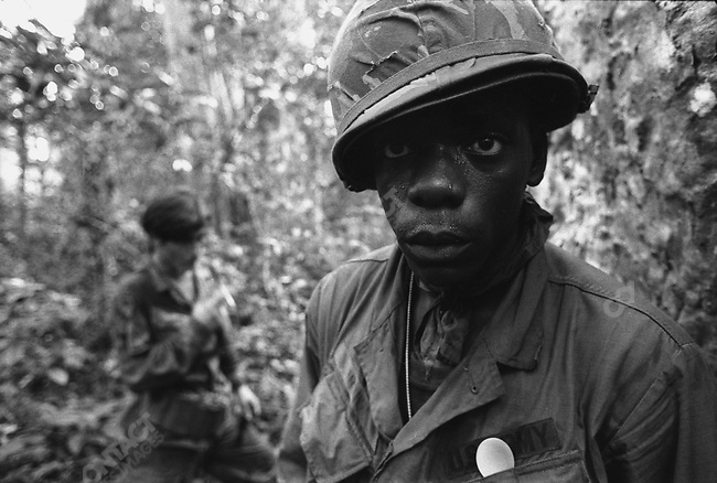 American soldiers of the 1/7 Battalion of the 1st Air Cavalry, near Xuan Loc, north of Saigon, South Vietnam, December 1971.