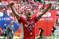 Jason Pearce of Charlton celebrates winning the Division One Play-Off Final during Charlton Athletic vs Sunderland AFC, Sky Bet EFL League 1 Play-Off Final Football at Wembley Stadium on 26th May 2019