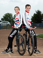26 MAY 2015 - IPSWICH, GBR - Charlie-Jane Herbert (left), the British 2014 Individual Women's Cycle Speedway champion, and her partner Ashley Hill (right) at Whitton Sports and Community Centre in Ipswich, Suffolk, Great Britain. Herbert moved to Ipswich from Exeter at the beginning of the year to be with Hill who she met through the sport (PHOTO COPYRIGHT © 2015 NIGEL FARROW, ALL RIGHTS RESERVED)