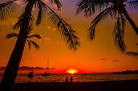 Sunset, Anaehoomalu Beach, Waikoloa Beach Marriott Resort & Spa, Waikoloa, The Big Island of Hawaii, Hawaii, USA