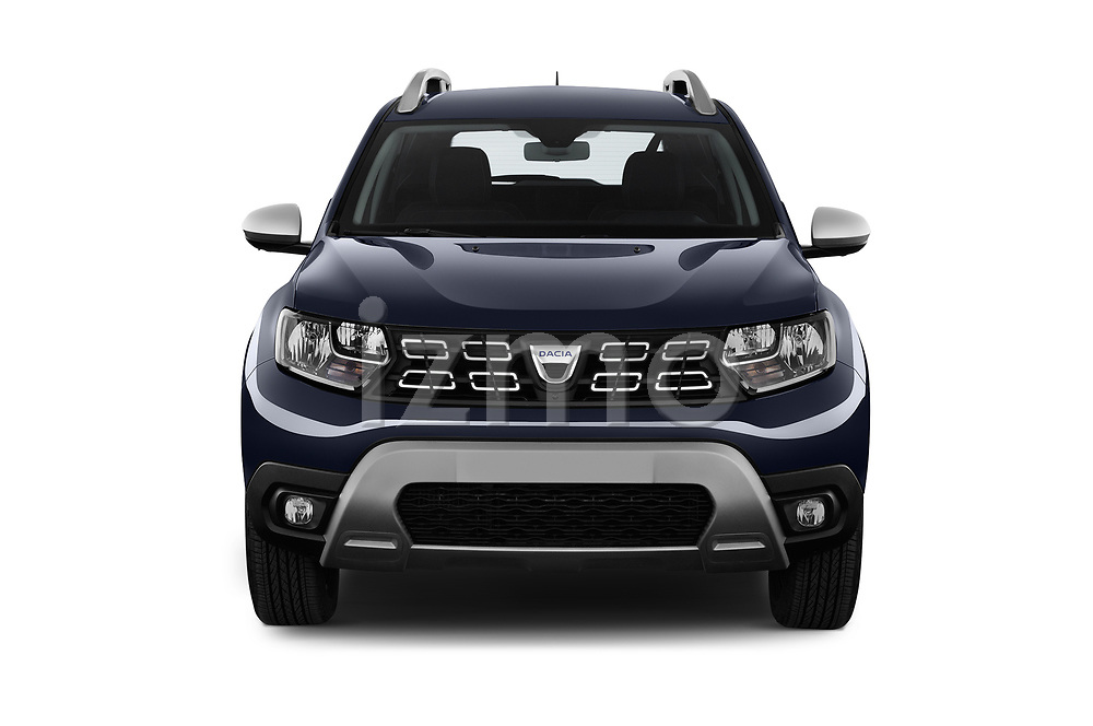 Car photography straight front view of a 2018 Dacia Duster Duster 5 Door SUV