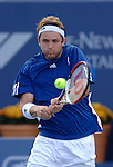 Mardy Fish plays Stanislas Wawrinka at the Pilot Pen ATP tournament in New Haven on August 23, 2007