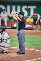 Home plate umpire Thomas Fornarola handles the calls between the Grand Junction Rockies and the Ogden Raptors at Lindquist Field on September 6, 2017 in Ogden, Utah.  Ogden defeated Grand Junction 11-7. (Stephen Smith/Four Seam Images)