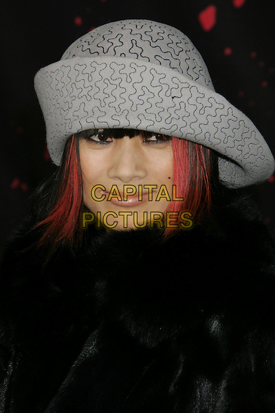 "BAI LING.""30 Days Of Night"" Premiere held at Grauman's Chinese Theatre, Hollywood, California, USA..October 16th, 2007.headshot portrait pink hair grey gray hat .CAP/ADM/RE.©Russ Elliot/AdMedia/Capital Pictures. *** Local Caption ***"