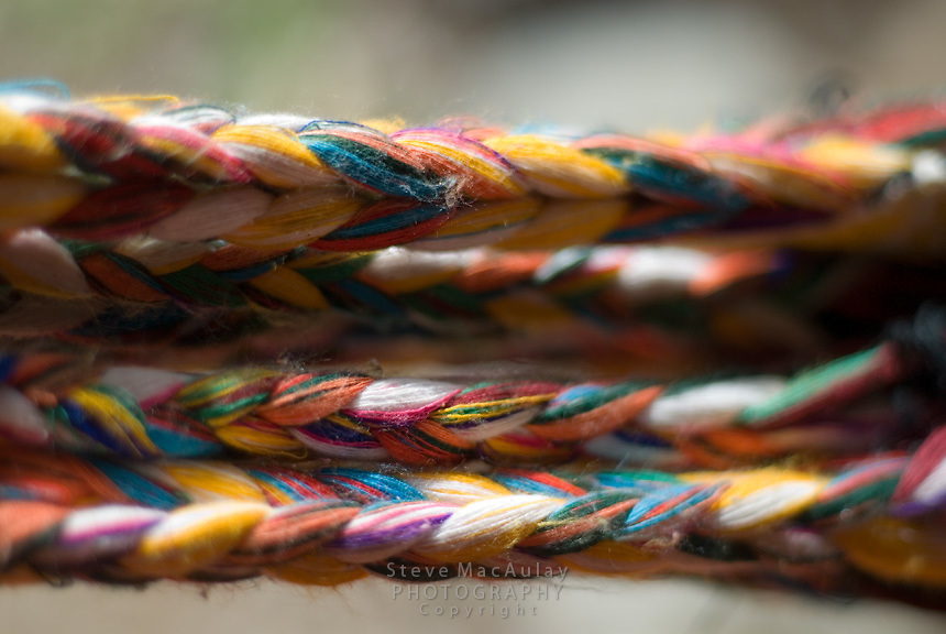 Close-up of woven hammock, Los Quezales, Parque Internacional La Amistad, Panama