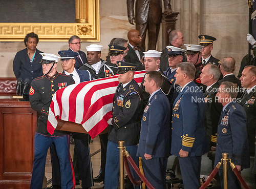 Ceremony honoring former United States President George H.W. Bush, who will Lie in State in the Rotunda of the US Capitol in Washington, DC begins as a military honor guard carries his casket into the building on Monday, December 3, 2018.<br /> Credit: Ron Sachs / CNP<br /> (RESTRICTION: NO New York or New Jersey Newspapers or newspapers within a 75 mile radius of New York City)