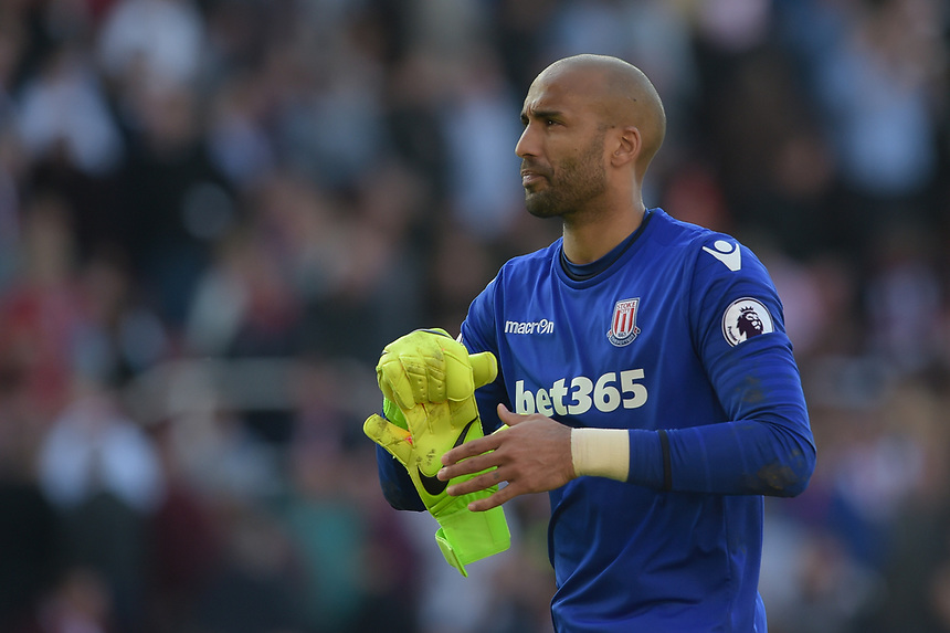 A selected looking Stoke City's Lee Grant at the end of the match<br /> <br /> Photographer Terry Donnelly/CameraSport<br /> <br /> The Premier League - Stoke City v Liverpool - Saturday 8th April 2017 - bet365 Stadium - Stoke-on-Trent<br /> <br /> World Copyright &copy; 2017 CameraSport. All rights reserved. 43 Linden Ave. Countesthorpe. Leicester. England. LE8 5PG - Tel: +44 (0) 116 277 4147 - admin@camerasport.com - www.camerasport.com