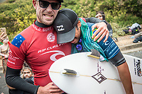 BELLS BEACH, Torquay, Victoria, Australia    (Thursday, April 5, 2018) Mick Fanning (AUS) and Italo Ferreira (BRA) - The Rip Curl Pro Bells Beach, Stop No. 2 on the World Surf League (WSL) Championship Tour (CT), wrapped up today with some solid clean 2m waves coming through Bells on the incoming tide.<br /> Italo Ferreira (BRA) could not have chosen a more dramatic context in which to earn his first-ever Championship Tour event win. Thursday afternoon at the Rip Curl Pro Bells Beach, the electric Brazilian defeated the man of the hour, three-time World Champion Mick Fanning (AUS), whose impending retirement after Bells added a bittersweet weight to the proceedings. <br /> <br /> <br /> But when the two paddled out for what would be a first for one of them, and a last for the other, none of that mattered to Ferreira. Instead, he showcased what he is capable of, and made his first serious step toward joining a World Title conversation.<br /> <br /> Plus, if you're going to win your first CT event, taking home the most coveted trophy in surfing isn't a bad way to go about it. Add Mick Fanning to the mix and it's even sweeter.<br /> <br /> &quot;I can't believe it,&quot; said Ferreira. &quot;It's just amazing. Mick Fanning is a hero to me. He's inspired me every single day, at every single competition. Remember his movie 3 Degrees? I've seen that 2000 times.&quot; <br /> <br /> Six-time World Champion Stephanie Gilmore (AUS)  took a step toward winning a seventh Title Thursday when she won the Rip Curl Women's Pro Bells Beach. She also became one of just a few surfers -- Mark Richards, Kelly Slater and Mick Fanning among them -- to ring the winner's bell an incredible fourth time. Photo: joliphotos.com