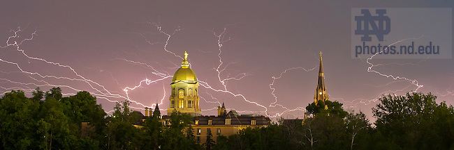 May 31, 2013; Dome and Basilica with a lightning storm.<br /> <br /> Photo by Matt Cashore/University of Notre Dame