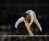 Brinn Bevan (GBR) in action during the men's Horizontal Bar competition.  FIG World Cup Series of Gymnastics. The O2 Arena, London,  Britain 8th April 2017.