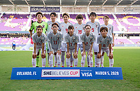 ORLANDO, FL - MARCH 05: Japan poses for the starting XI photo during a game between Spain and Japan at Exploria Stadium on March 05, 2020 in Orlando, Florida.