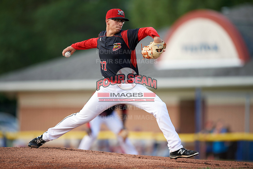 Batavia Muckdogs starting pitcher Alex Mateo (37) delivers a pitch during a game against the Auburn Doubledays on June 19, 2017 at Dwyer Stadium in Batavia, New York.  Batavia defeated Auburn 8-2 in both teams opening game of the season.  (Mike Janes/Four Seam Images)