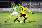 2016-01-09 / Voetbal / Seizoen 2015-2016 / Dosko &ndash; Flandria / Jeroen Fransen (l. Dosko) met Boris De Bruyn<br /><br />Foto: Mpics.be