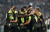 Football Soccer: UEFA Champions League Juventus vs Sporting Clube de Portugal, Allianz Stadium. Turin, Italy, October 18, 2017. <br /> Sporting CP players celebrate after Juventus Alex Sandro auto-goal during the Uefa Champions League football soccer match between Juventus and Sporting Clube de Portugal at Allianz Stadium in Turin, October 18, 2017.<br /> UPDATE IMAGES PRESS/Isabella Bonotto