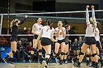 GRAND RAPIDS, MI - NOVEMBER 18: Taylor Yontz (20), Maddie Fischer (18), Taylor Brown (3), Aubrey Cox (10) and Madison Manger (1) of Wittenberg University celebrate after winning a point against Claremont-Mudd-Scripps in the Division III Women's Volleyball Championship held at Van Noord Arena on November 18, 2017 in Grand Rapids, Michigan. Claremont-M-S defeated Wittenberg 3-0 to win the National Championship. (Photo by Doug Stroud/NCAA Photos via Getty Images)