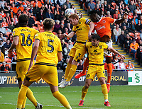 Blackpool's Armand Gnanduillet competes with Milton Keynes Dons' Dean Lewington and Joe Walsh<br /> <br /> Photographer Alex Dodd/CameraSport<br /> <br /> The EFL Sky Bet League One - Blackpool v MK Dons  - Saturday September 14th 2019 - Bloomfield Road - Blackpool<br /> <br /> World Copyright © 2019 CameraSport. All rights reserved. 43 Linden Ave. Countesthorpe. Leicester. England. LE8 5PG - Tel: +44 (0) 116 277 4147 - admin@camerasport.com - www.camerasport.com