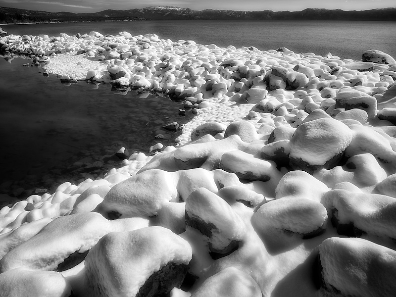 New snow on shore of Lake Tahoe, California