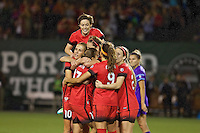 Portland, Oregon - Sunday April 17, 2016: Portland Thorns FC midfielder Lindsey Horan (7) celebrates scoring with teammates. The Portland Thorns play the Orlando Pride during a regular season NWSL match at Providence Park. The Thorns won 2-1.