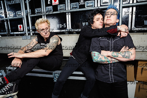 GREEN DAY - L-R: Mike Dirnt, Billie Joe Armstrong, Tré Cool -  photosession backstage at the SAP Arena in Mannheim Germany - 18 Jan 2017.  Photo credit: Paul Harries/IconicPix **NOT AVAILABLE FOR UK MUSIC MAGAZINES**