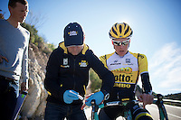 Steven Kruijswijk (NLD/LottoJumbo) undergoing a lactate fitness test<br /> <br /> Team Lotto Jumbo winter training camp<br /> Moj&aacute;car, Spain, January 2015