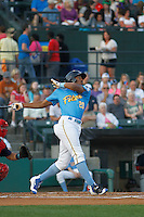 Myrtle Beach Pelicans center fielder Rashad Crawford (20) at bat during a game against the Salem Red Sox at Ticketreturn.com Field at Pelicans Ballpark on April 10, 2016 in Myrtle Beach, South Carolina. Salem defeated Myrtle Beach 4-3. (Robert Gurganus/Four Seam Images)