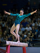 22nd March 2018, Arena Birmingham, Birmingham, England; Gymnastics World Cup, day two, womens competition; Hannah Chrobok (CAN) losing her balance on the Balance Beam during her competition routine