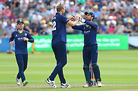 Paul Walter of Essex is congratulated by his team mates after taking the wicket of Cameron Bancroft during Gloucestershire vs Essex Eagles, NatWest T20 Blast Cricket at The Brightside Ground on 13th August 2017