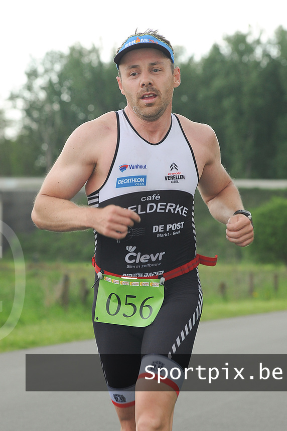 20170514 GEEL : Kwart Triathlon  -  1/4 Triathlon<br /> Loopproef<br /> Joeri Gouwkens<br /> <br /> PHOTO SPORTPIX.BE / DIRK VUYLSTEKE