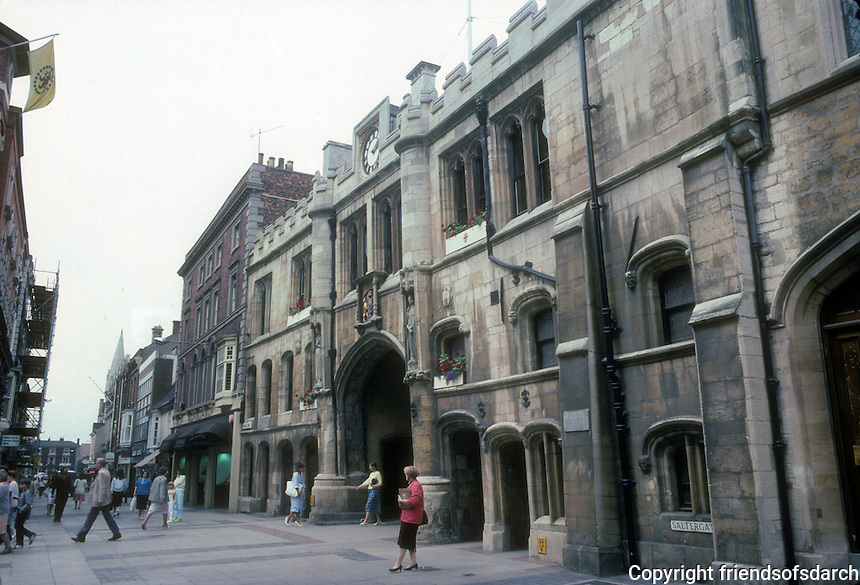 Lincoln: Satergate,  late 15th - early 16th century.  Guildhall over gate. Photo '90.