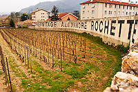 Close to the town a vineyard wall with painted in black on white Hermitage Alexandre Rochette. The Hermitage vineyards on the hill behind the city Tain-l'Hermitage, on the steep sloping hill, stone terraced. Sometimes spelled Ermitage. Tain l'Hermitage, Drome, Drôme, France, Europe