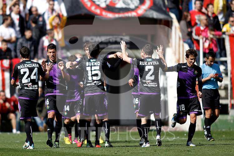(L-R) Real Valladolid's Mikel Balenziaga, Jesus Rueda, Bueno, Antonio Rukavina and Alvaro Rubio during La Liga  match. February 24,2013.(ALTERPHOTOS/Alconada)