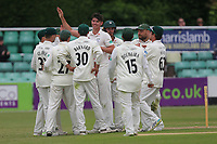 Josh Tongue of Worcestershire celebrates with his team mates after taking the wicket of Varun Chopra during Worcestershire CCC vs Essex CCC, Specsavers County Championship Division 1 Cricket at Blackfinch New Road on 12th May 2018