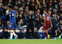 30th November 2019; Stamford Bridge, London, England; English Premier League Football, Chelsea versus West Ham United; Chelsea Manager Frank Lampard shouting instructions to his players from the touchline - Strictly Editorial Use Only. No use with unauthorized audio, video, data, fixture lists, club/league logos or 'live' services. Online in-match use limited to 120 images, no video emulation. No use in betting, games or single club/league/player publications