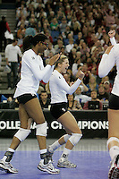 15 December 2007: Stanford Cardinal Bryn Kehoe (4) and Foluke Akinradewo (16) during Stanford's 25-30, 26-30, 30-23, 30-19, 8-15 loss against the Penn State Nittany Lions in the 2007 NCAA Division I Women's Volleyball Final Four championship match at ARCO Arena in Sacramento, CA.