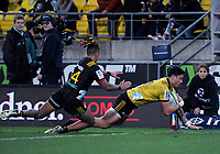 Ben Lam scores during the Super Rugby quarterfinal match between the Hurricanes and Chiefs at Westpac Stadium in Wellington, New Zealand on Friday, 20 July 2018. Photo: Dave Lintott / lintottphoto.co.nz