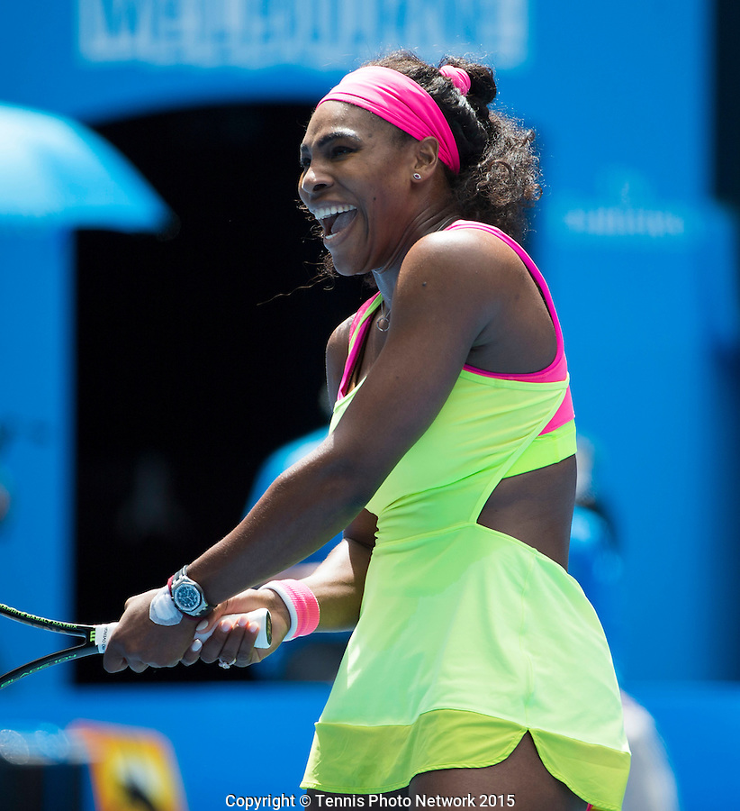 Serena Williams (USA)<br /> <br /> Tennis - Australian Open 2015 - Grand Slam -  Melbourne Park - Melbourne - Victoria - Australia  - 26 January 2015. <br /> &copy; AMN IMAGES