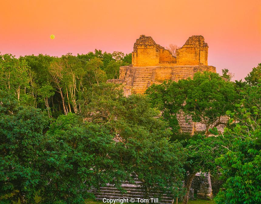 Moonrise at Temple of the Cormorant Dzibanche Mayan Ruin Quintana Roo State, yucatan, Mexico Pre and Post Classic Mayan Ruin 45 H 300-900 AD